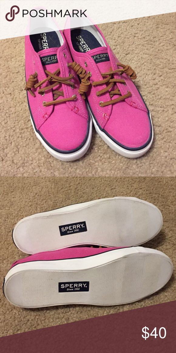 Pink Sperry Top Sider Seacoast slip ons New without box. The slightest bit of scuffing just from being in the closet and getting knocked about by other shoes. Canvas with rawhide lacing. Rubber, non-marking soles. Sperry Top-Sider Shoes