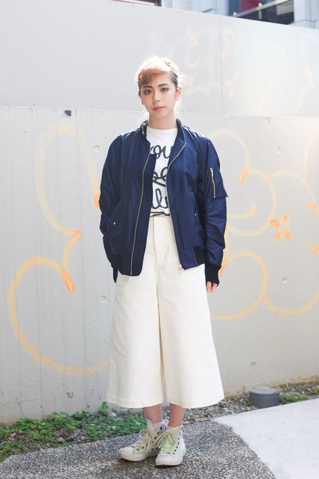 How to wear culottes without looking dated? Trick. Play with the length of your top and footwear.   ストリートスナップ [Ayano Nakano] | CONVERSE, JOHN LAWRENCE SULLIVAN, Made in HEAVEN, コンバース, ジョンローレンスサリバン, メイドインヘブン | 原宿 | Fashionsnap.com