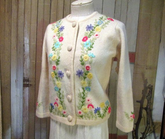 60s Vintage Flower Cardigan B Altman Embroidered Wool Ivory White Sweater S M via Etsy