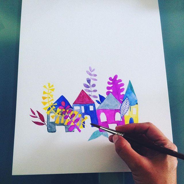 Dándole al pincel que es #alegria Work in progress  #surfacedesign #pattern #painting #gatosyrinocerontes #watercolor