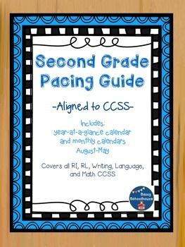 """Great for teachers new to 2rd grade or new to CCSS!I created this pacing guide to assist me in making sure I teach all the second grade CCSS by the end of the year. Included is a """"year-at-a-glance"""" calendar that I keep on my bulletin board to remind me what students should have mastered and what is coming up."""
