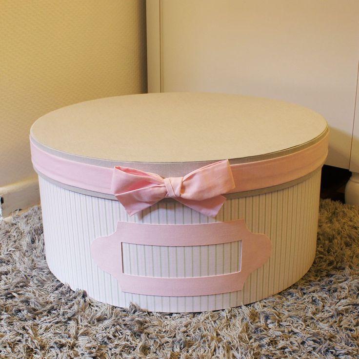Caixa para Quarto de Bebê Chapéu Grande Redonda Primavera Rosa