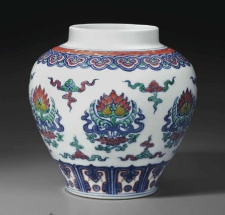 A rare Ming-style doucai 'Lotus' jar, 18th century