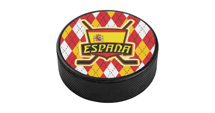 Regulation size #Spanish flag #hockey #puck with full color printed design, great for display or autographs!  Many more designs available. #IceHockey #Spain