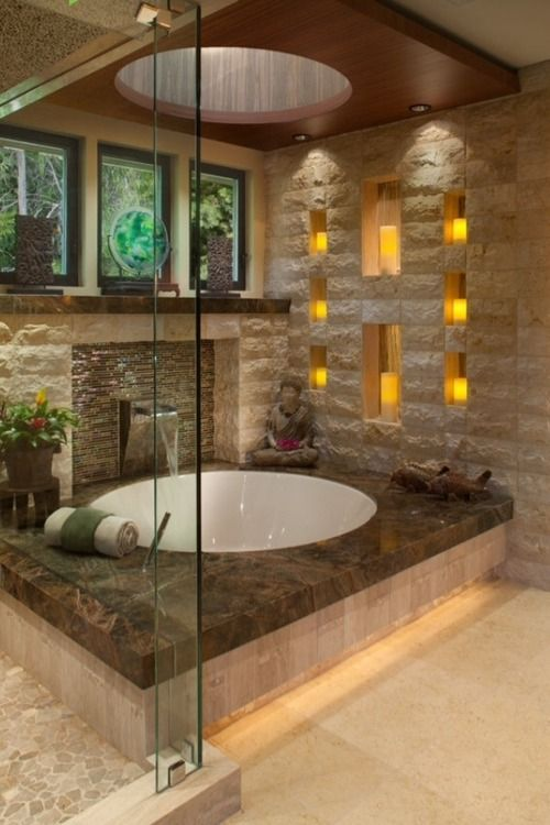 Zen contemporary bathroom.