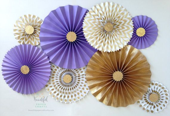 Lavender and Gold Glitter  Gold Rosette by BeautifulPaperCrafts