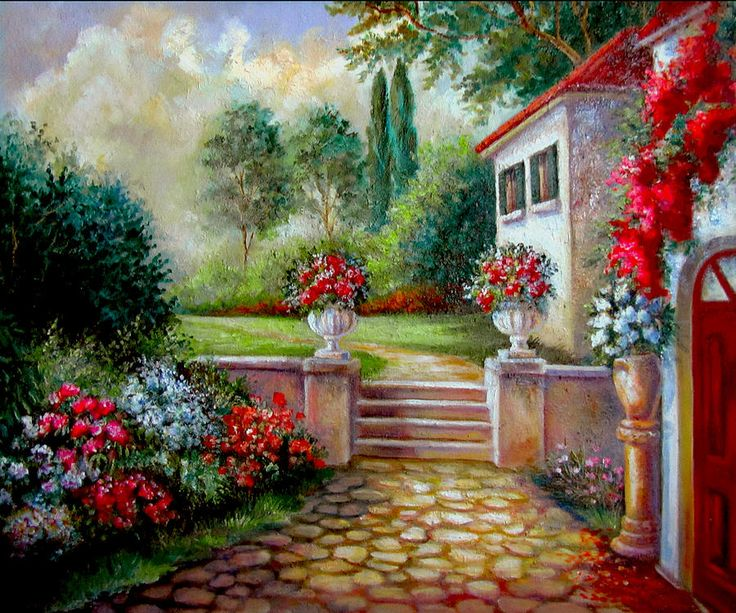 Italian Villa With Garden ~ Artist: Gina Femrite