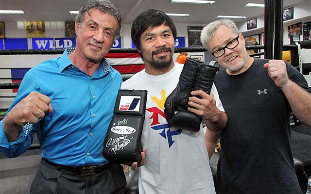 Sylvester Stallone got some Pacquaio-signed gloves for Rocky Balboa. (Top Rank Boxing)