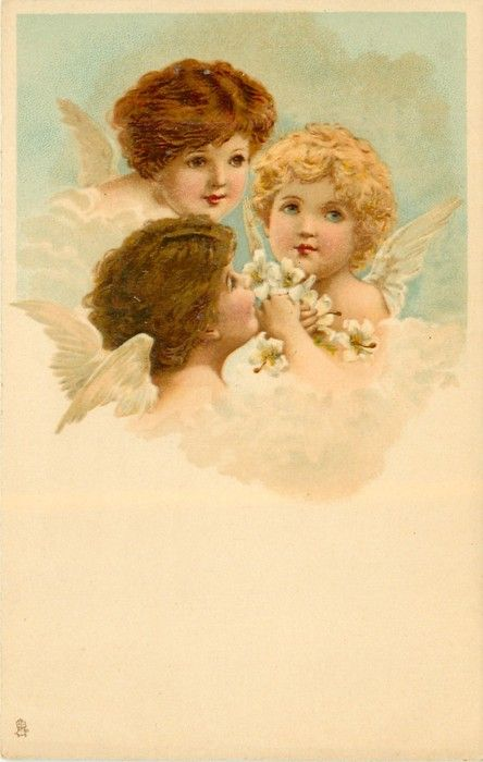 Three angel heads in a circle, one holds Easter lilies.  Artist, F. Brundage ~ 1904.