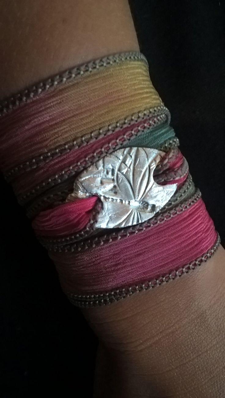 Dragonfly Silk Wrap Bracelet, Bohemian Wrap Bracelet, Recycled Silver, 99.9% Silver, Hand Dyed Silk Ribbon, Hippie Jewelry, Yoga Bracelet by AhyokaByBernice on Etsy
