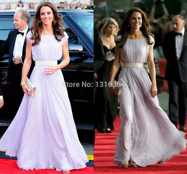 2014 Elegant  A-line Purple Evening Dresses! Scoop A-line Floor Length Zipper Sash Chiffon Formal Dresses Cheap Evening Gowns