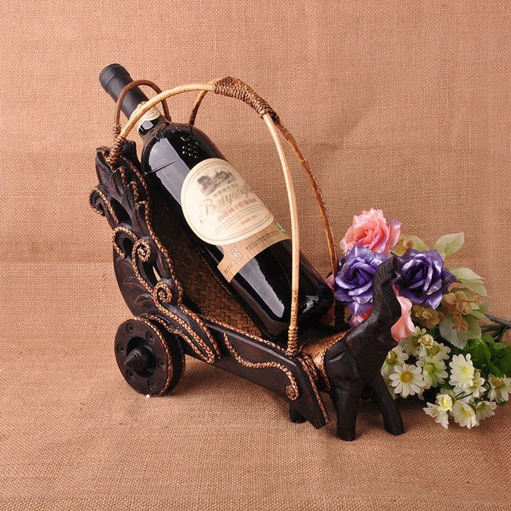 Style 3 Elephants Pull Carts Creative Retro Furniture Made of Solid Wood Elegant Manual Home Decorations Ornaments Wine Racks