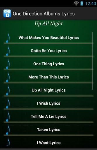 """One Direction Albums and Lyrics is an application that displays a collection of all the band One Direction, of all the albums will be on display all forms of song lyrics by clicking the title of the song that you want. As a lover of music band One Direction of course very enjoyable app once because all the existing collection of song lyrics on this application.<p>For the latest Albums """"Four"""" is also already available in this application. In these Four Albums featuring, among others, """"Steal…"""