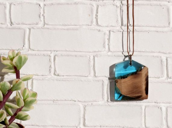 Resin Jewelry Resin necklace Wood and Resin Jewelry by MavouShop