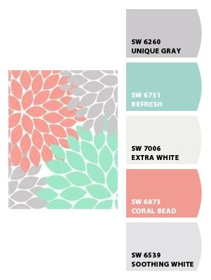 Nursery Colors Grey Soft Coral Aqua Or Soft Teal Or Turquoise