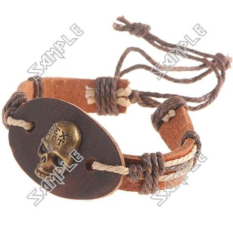 Skull Patterned Leatherette Wristlet Wrist Band Bracelet