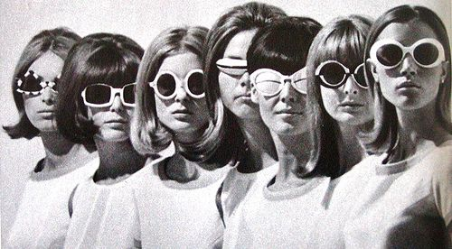 """The mod style won out over the rockers in Great Britain in the 1960s. Fashions for the mods included longer hairstyles and these funky glasses, which were based off of """"granny"""" glasses."""