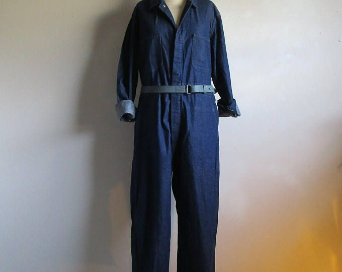 Mens Mechanic Jumpsuit Vintage 80s Workwear Dark Blue Denim 1 pc 1980s Union Made Jumpersuit 38