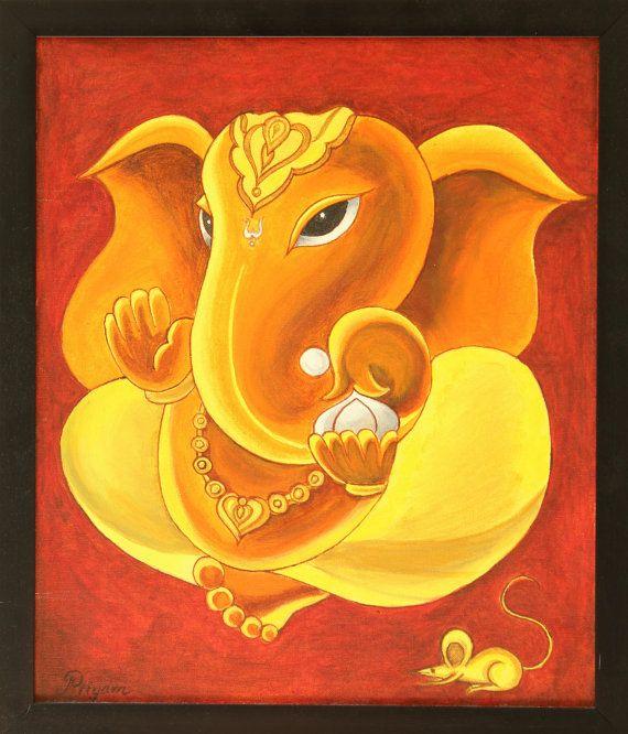 Ganesha auf Leinwand, Ganesha-Malerei, Acryl-Malerei, gerahmte Bilder, indische Malerei