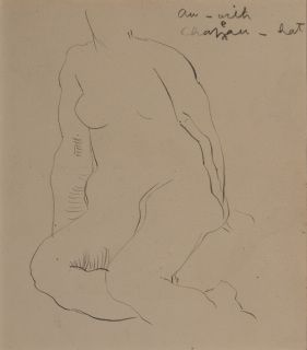 "Orlando Greenwood (1892-1989) Nude Study Pencil drawing on paper Greenwood's French to English translation notes to the top right - 'au-with; chapeau-hat'. The subject doesn't have a hat. She doesn't actually have a head. In a dark cream, conservation grade mount In very good condition Drawing: 11.5 x 10 cm (visible); mount: 25.3 x 20.3 cm (10"" x 8"") Visit our Frames page to view and select a frame for this work"