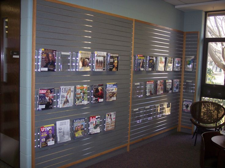 A Great Way To Display Periodicals Using Slat Wall And