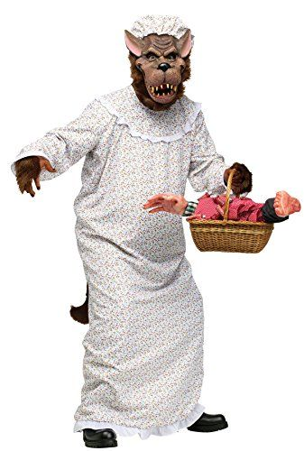 UHC Unisex Plush Big Bad Granny Wolf Comical Theme Party Adult Halloween Costume OS >>> You can get more details by clicking on the image.