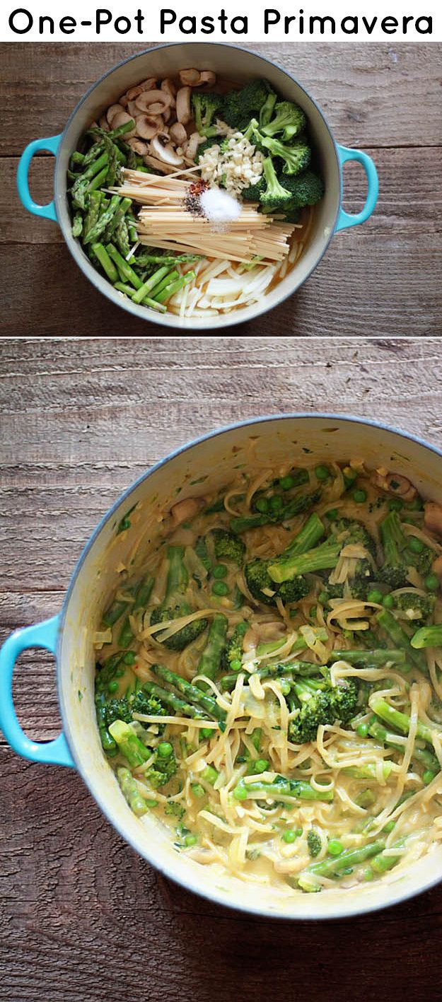 One-Pot Pasta Primavera, replace the heavy cream with egg yolk for a healthier version