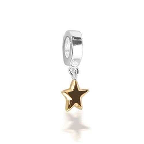 Bling Jewelry Patriotic 925 Sterling Silver Gold Star Dangle Bead Fits Pandora