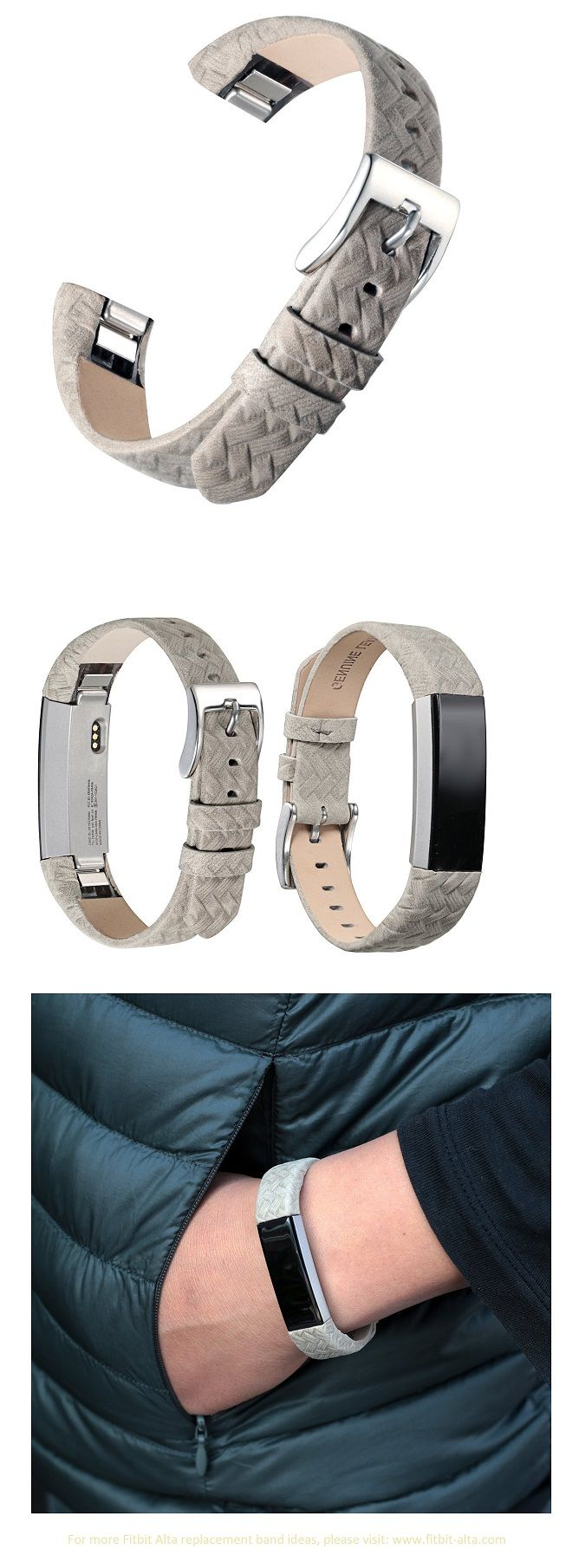 Bayite Leather Replacement Bands for Fitbit Alta - Suede Textured Grey