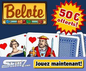 Skill7 offre 50€ pour jouer aux jeux de carte en ligne : belote, tarots, etc.