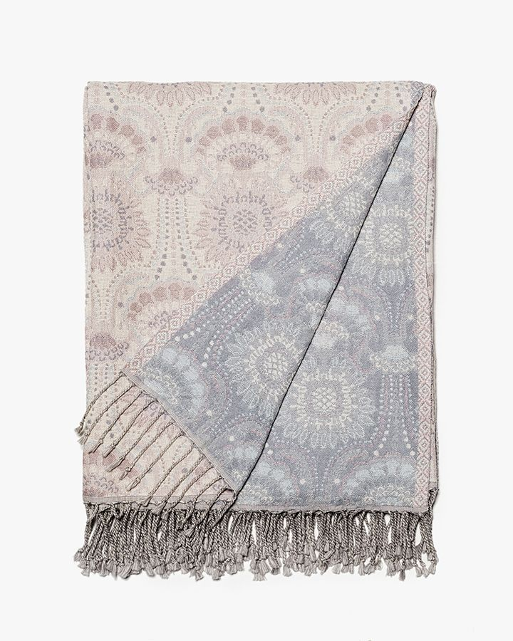 Lennol | ODELIA Ornamental design patterned reversible throw, rose, light blue