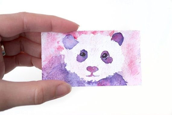 Tiny Panda Watercolor Painting on Upcycled Business Card: Pink and Purple by Brandi Miller Art, $3.50