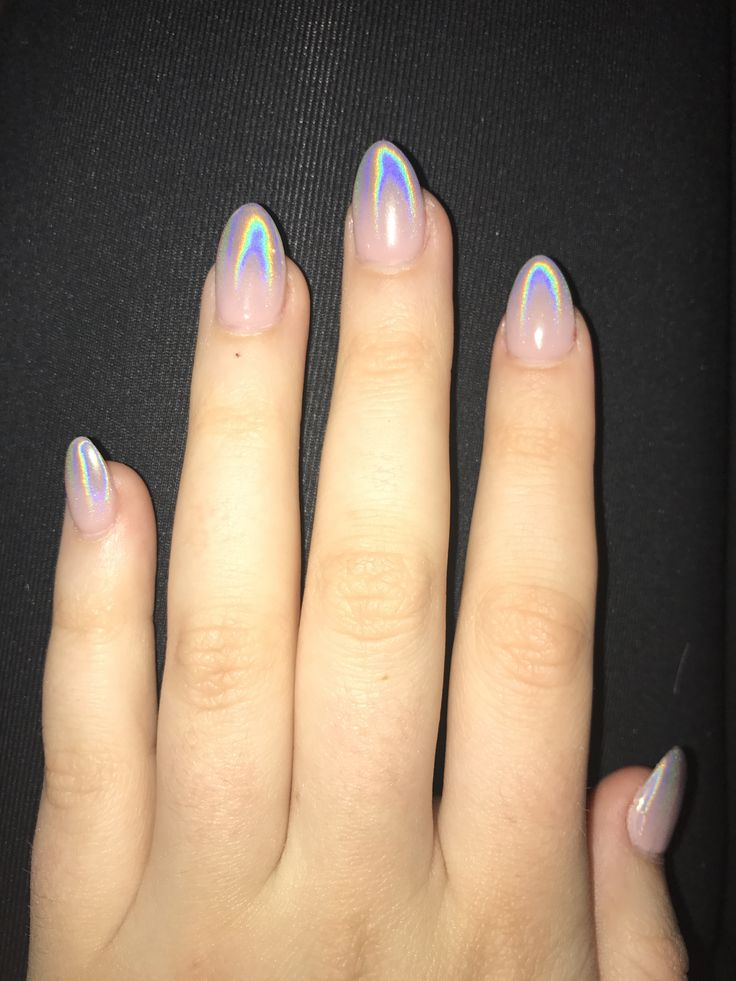 Nail Shape Trends: Holographic Ombre Nails Almond