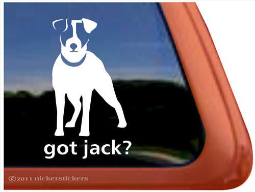 High Quality Adhesive Vinyl Window Decal Sticker - 5 tall x 3 wide This adorable Jack Russell Terrier decal design was drawn by our in-house artist. It is an original design you wont find anywhere else. It is a die-cut decal made of high quality vinyl rated for six years. It is an all-weather adhesive decal that will stay put through all weather, sun and washing. It is designed to be used on the outside of your window or other surface. The decal can be removed, but will not be reusable…