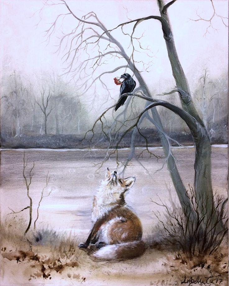 "Original Art: ""The fox and the raven"", lore, fabel, art, original, painting, vulpes, corvid, woodland, animal, bird, nordic, wildlife,nature"