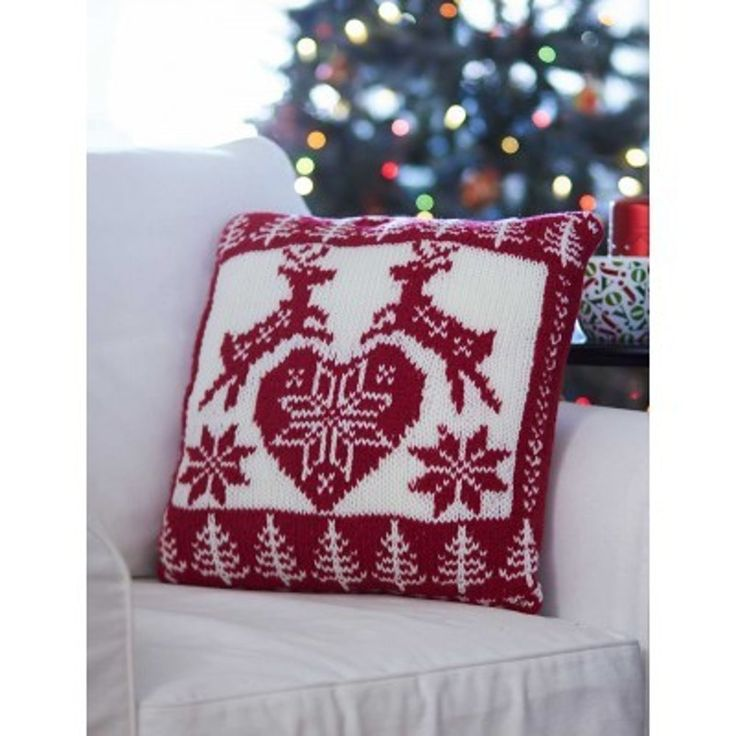 Nordic Holiday Pillow in Bernat Super Value. Discover more Patterns by Bernat at LoveKnitting. Pillow PatternsKnit PatternsFree ...