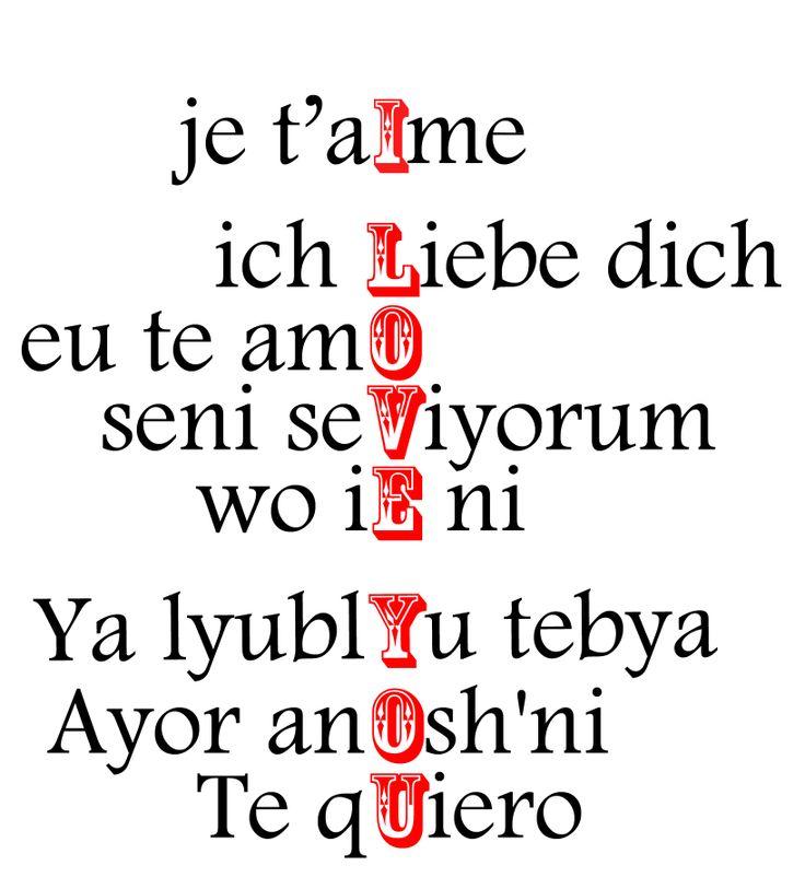 Love in multiple languages