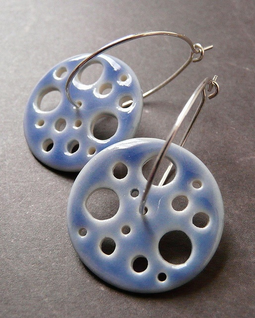 Earrings - Nancy Adams Crater Discus Hoops in Liquid Blue - Porcelain Earrings