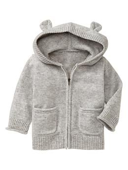 Cashmere hoodie sweater | Gap in heather gray for baby boy or girl