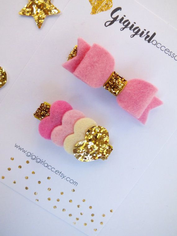 Gold and Pink Glitter Hair Clips, Set of 2, Felt Hair Clips, Felt Bow clippie…