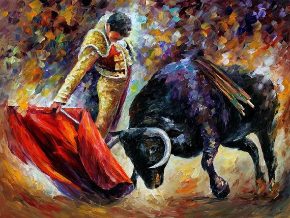 "Corrida, Dangerous Opponent — PALETTE KNIFE Toreador Modern Art Oil Painting On Canvas By Leonid Afremov - Size: 40"" x 30"" (100 cm x 75 cm)"