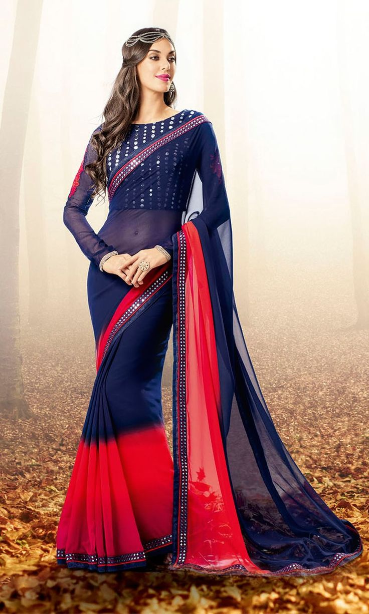 Shop Blue and Red Georgette Fabric Dual tone Party wear Saree Online at IshiMaya Fashion - SAEBRVS7173