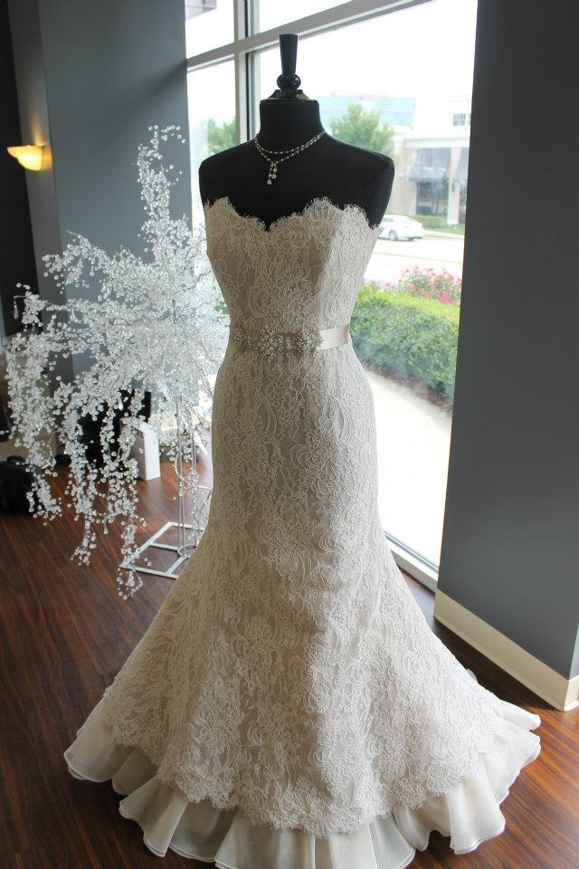 Victoria Nicole's lace dress over latte lining