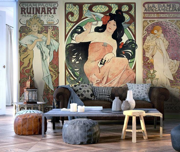 Fototapete: Alphonse Mucha. ❦❦❦ Motive der Tapete: Menschen, Retro, Silhouetten, Frauen, graphisches Motiv. Diese Deko ist ein absolute Must-Have für jeden Mucha und Art Nouveau Liebhaber! ❦❦❦