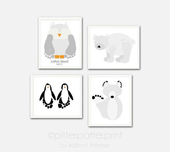 Baby Footprint Arctic Animal Wall Art Print Set - Penguin, Wolf, Owl, Polar Bear Nursery Decor - 5x7 Poster Personalized Kids Wall Art on Etsy, $55.00