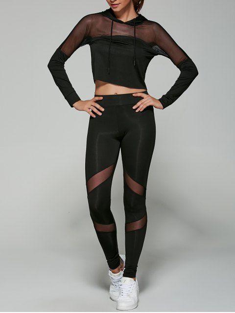 Cropped Hoodie with Mesh Leggings - BLACK S
