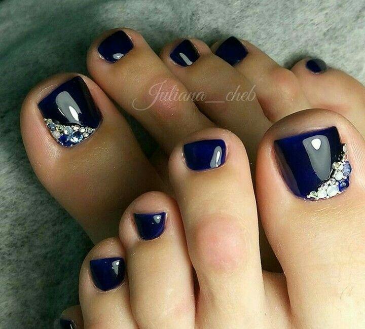 Dark Blue Rhinestone Nailart Toe Nail Art