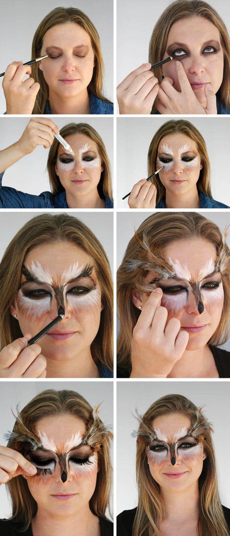 Schritt für Schritt Anleitung zum Eulen-Make-up Damen #fasching #canival – Eule