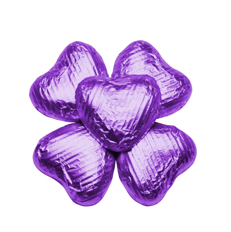 100 Chocolate Hearts, Purple, £20.95