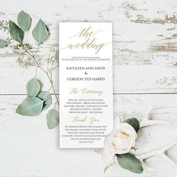 Gold Wedding Program Printable, Wedding Program #weddings #invitation @EtsyMktgTool #editableprogram #instantdownload #diyprograms